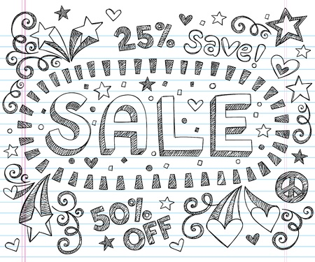 percentage: Sale Sketchy Notebook Doodles Discount 50  Off Shopping Hand-Drawn Illustration Design Elements on Lined Sketchbook Paper Background
