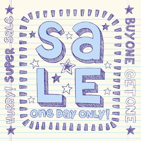 Sale Sketchy Notebook Doodles Discount Vector Tag- Hand-Drawn Illustration Design Elements on Lined Sketchbook Paper Background Vector