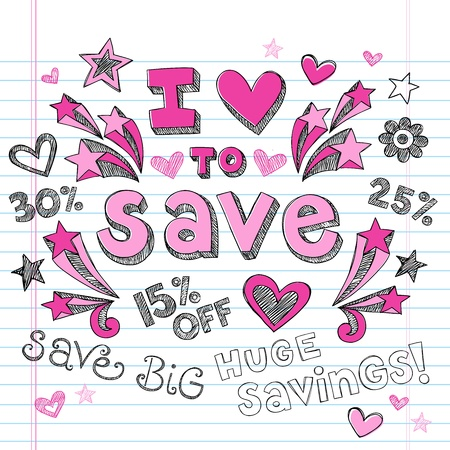 I Love to Save Sketchy Notebook Doodles Shopping Discount - Hand-Drawn Illustration Design Elements on Lined Sketchbook Paper Background Vettoriali