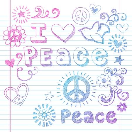 Peace Love Sketchy Notebook Doodles Design Elements on Lined Sketchbook Paper Background- Vector Illustration