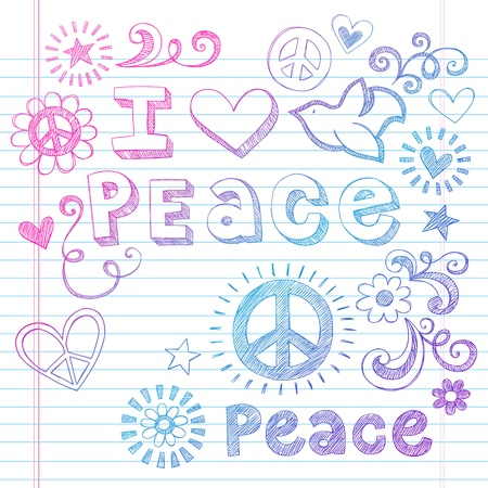 notebook paper background: Peace Love Sketchy Notebook Doodles Design Elements on Lined Sketchbook Paper Background- Vector Illustration