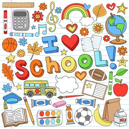 mochila escolar: Me encanta la escuela útiles escolares Notebook Doodles Hand-Drawn Elementos del diseño en el fondo forrado de papel Sketchbook