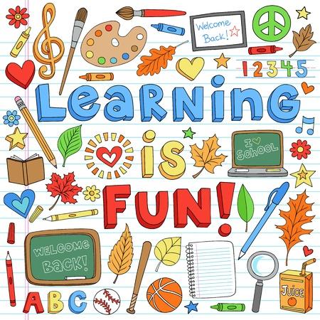 classroom supplies: Aprender es divertido volver a Aula Escuela Suministros Notebook Doodles a mano de la Ilustraci�n de los elementos del dise�o en el fondo forrado de papel Sketchbook