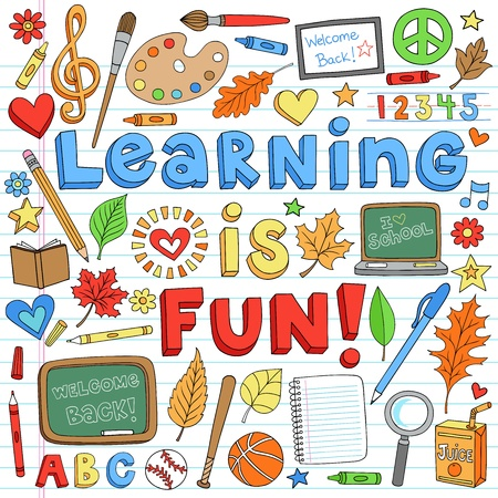 first day of school: Learning is Fun Back to School Classroom Supplies Notebook Doodles Hand-Drawn Illustration Design Elements on Lined Sketchbook Paper Background