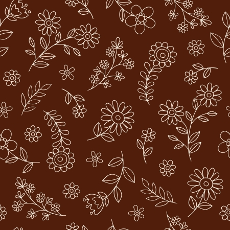 Seamless Flower Garden Pattern Notebook Doodle Design- Hand-Drawn Vector Illustration Background Vector