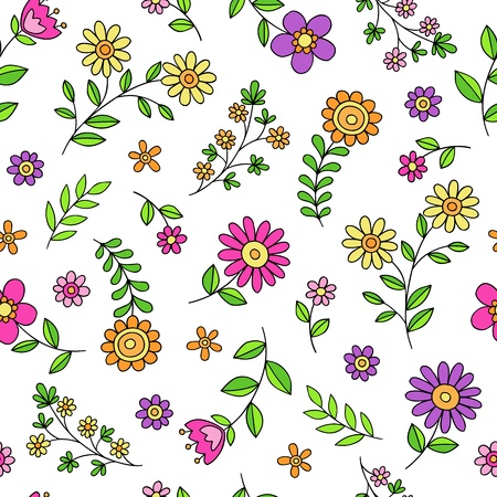 groovy: Flowers Seamless Pattern Groovy Hand-Drawn Doodle Vector Illustration Design