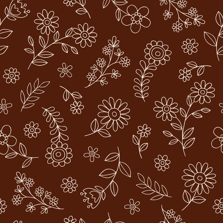 Flowers Seamless Pattern Hand-Drawn Doodle Illustration Design