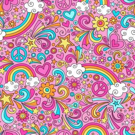 Seamless Pattern Psychedelic Rainbows Groovy Peace Notebook Doodle Design- Hand-Drawn Vettoriali