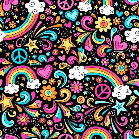 Rainbows Seamless Pattern Psychedelic Groovy Peace Notebook Doodle Design- Hand-Drawn Vector