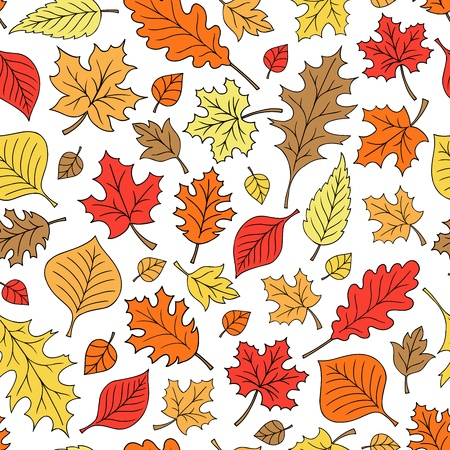 Autumn Fall Foliage Leaves Seamless Pattern Hand-Drawn Back to School Leaf Doodle Illustration Design Vector