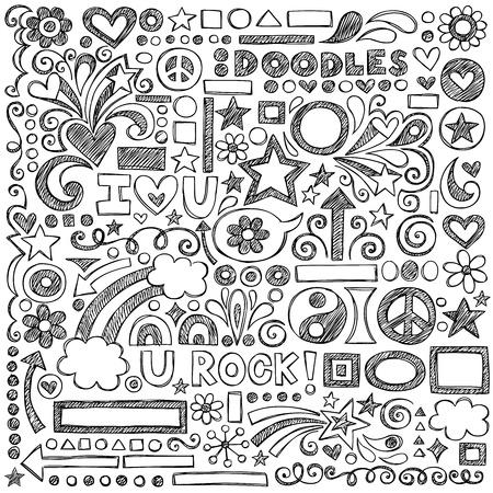 学校に戻る大ざっぱなノート、花、図形、ハート、星、矢印といたずら書き  イラスト・ベクター素材