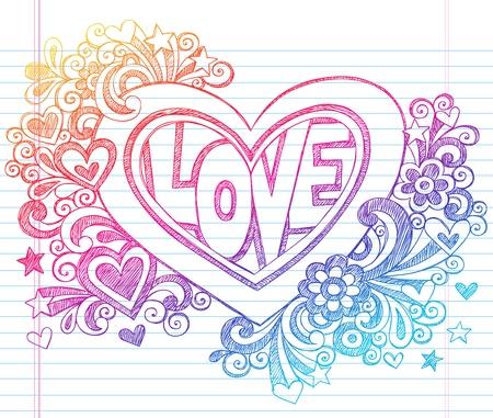 liebe: Sketchy Doodle LIEBE Beschriftung Herz Back to School Notebook Doodles Hand-Drawn Vector Illustration Design Element auf Lined Sketchbook Paper Background