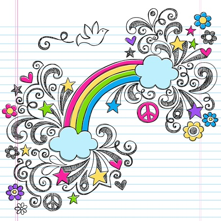 虹と学校のノートに戻るの大ざっぱな平和の鳩落書き並ぶスケッチ ブック [背景に用紙上のベクトルの手描きイラスト デザイン要素