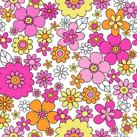 tilable: Fiori senza soluzione di continuit� Groovy pattern disegnati a mano Doodle Design Illustrazione vettoriale
