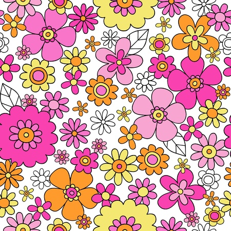 60's: Flowers Seamless Pattern Groovy Hand-Drawn Doodle Vector Illustration Design