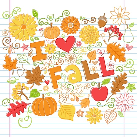 I Love Fall Back to School Style Sketchy Notebook Doodles with Pumpkins, Leaves, and Autumn Flowers- Hand-Drawn  Illustration Design Elements on Lined Sketchbook Paper Background