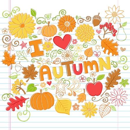 秋カボチャ、葉、そして秋花手描きイラスト デザイン要素に並ぶスケッチ ブック [背景に用紙を学校スタイル大ざっぱなノートの落書きに背中を愛