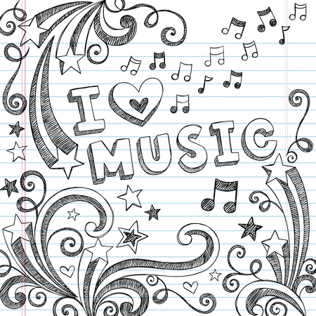 note musicali: I Love Music Torna Doodles Notebook Sketchy scuola con le note di musica e Swirls-Hand-Drawn Vector Elementi di design illustrazione su sfondo foderato di carta Sketchbook Vettoriali