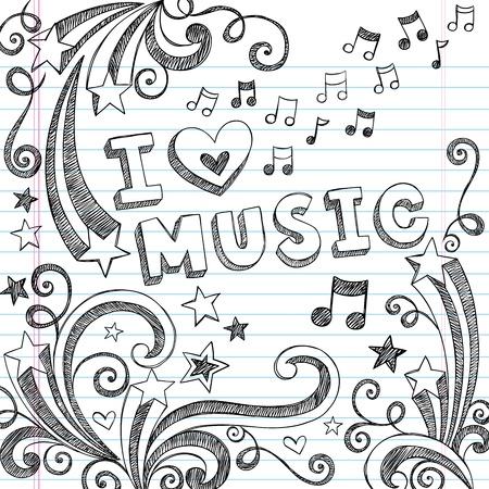 notes de musique: J'aime la musique Retour � l'�cole pour ordinateur portable Sketchy Doodles avec des notes de musique et tourbillonne-dessin�s � la main vecteur d'�l�ments de conception Illustration sur fond Sketchbook papier lign�