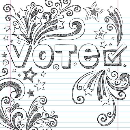 voter: Vote �lection pr�sidentielle Retour � l'�cole Doodles style Sketchy Notebook avec des �toiles et Tourbillons-dessin�e � la main Design Elements Illustration sur fond Sketchbook papier lign� Illustration
