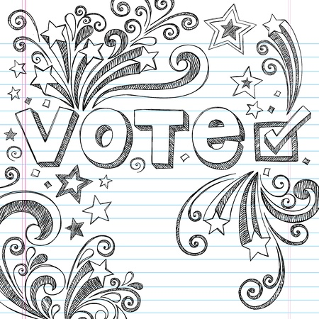 campaigns: Vote Presidential Election Back to School Style Sketchy Notebook Doodles with Stars and Swirls- Hand-Drawn  Illustration Design Elements on Lined Sketchbook Paper Background
