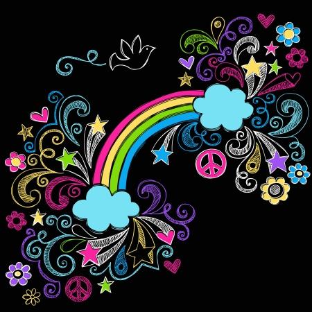 paloma de la paz: Arco Iris y signo de la paz Paloma Volver a la Escuela Notebook Doodles incompletos con las estrellas y los remolinos-Illustration Elementos de dise�o sobre fondo Negro