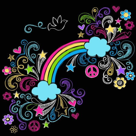 Rainbow and Peace Sign Dove Back to School Sketchy Notebook Doodles with Stars and Swirls- Illustration Design Elements on Black Background Vector