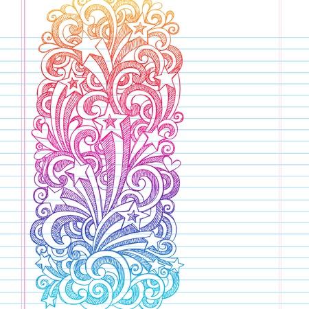 手描きスケッチ学校ノートに落書き星形、まんじ、および並ぶスケッチ ブック [背景に用紙を受けてイラスト デザイン要素と星の撮影  イラスト・ベクター素材