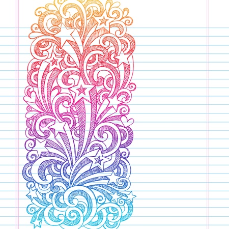 Shooting Stars Hand-Drawn Sketchy Back to School Notebook Doodles with Starbursts, Swirls, and Stars- Illustration Design Elements on Lined Sketchbook Paper Background Vector