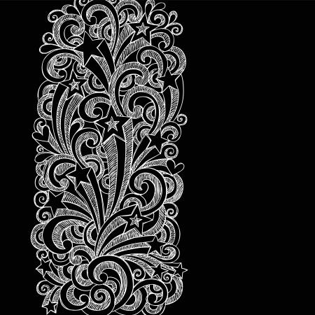 手描きスケッチ学校ノートに落書き星形、まんじ、および黒の背景に受けてイラスト デザイン要素と星の撮影  イラスト・ベクター素材