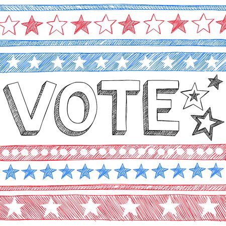 presidential election: Vote Presidential Election Back to School Style Sketchy Notebook Doodles with Stars and Swirls- Hand-Drawn  Illustration Design Elements on Lined Sketchbook Paper Background