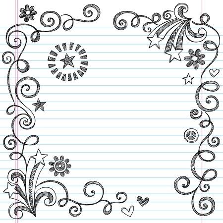 carta da lettere: Torna a scuola Sketchy Notebook Border Doodle con stelle e Swirls-Illustrator Elementi di design su sfondo foderato di carta Sketchbook Vettoriali