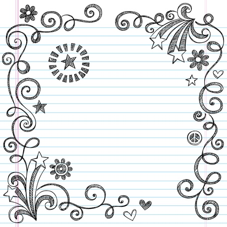 Back to School Sketchy Notebook Doodle Border with Stars and Swirls- Illustration Design Elements on Lined Sketchbook Paper Background Vectores