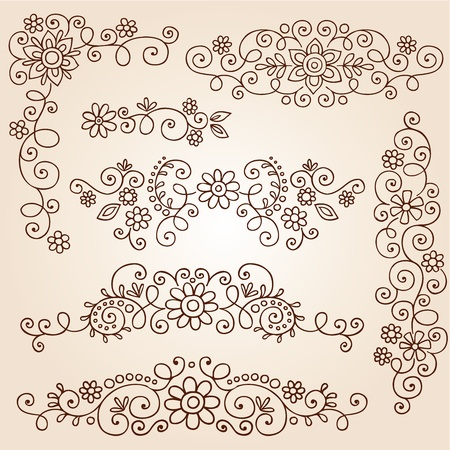 Henna Paisley Vines and Flowers Mehndi Tattoo Doodles Illustration