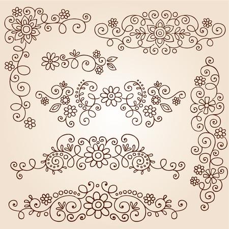 mhendi: Henna Paisley Vines and Flowers Mehndi Tattoo Doodles Illustration