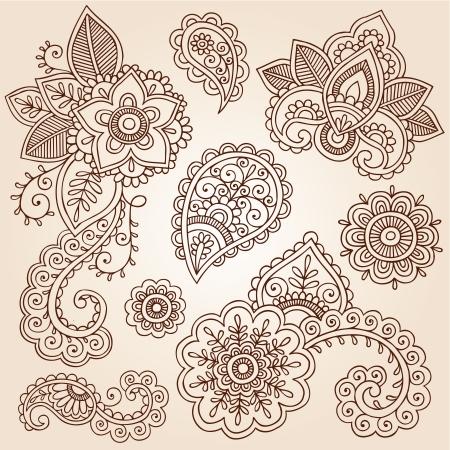 disegni cachemire: Fiori e Henna Paisley Doodles Mehndi Tattoo Set Vettoriali