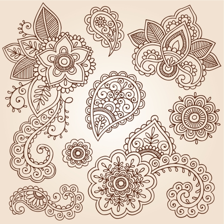 Henna Flowers and Paisley Mehndi Tattoo Doodles Set Vectores
