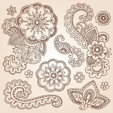 mhendi: Henna Paisley Mandala Flowers Mehndi Tattoo Doodles Set Illustration