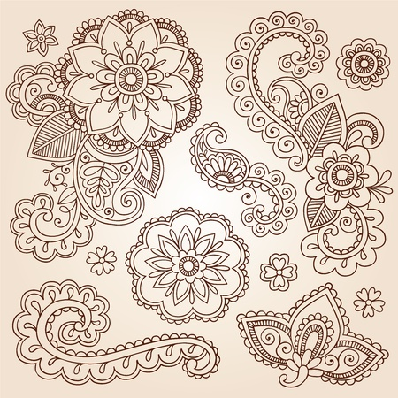 intricate: Henna Paisley Mandala Flowers Mehndi Tattoo Doodles Set Illustration