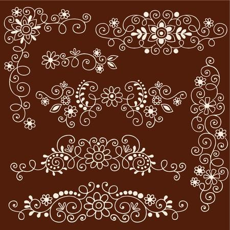 Henna Paisley Wijnstokken en Bloemen Mehndi Tattoo Doodles