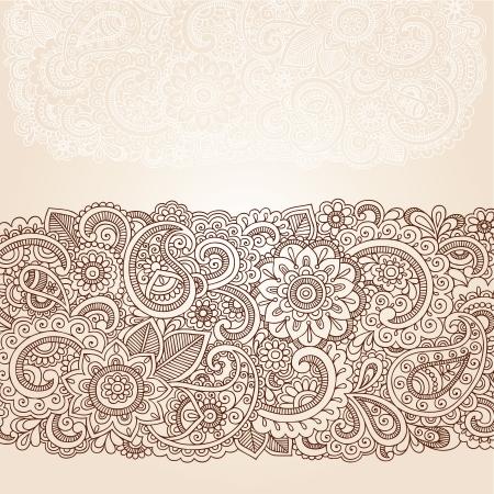 disegno cachemire: Fiori e Henna Mehndi Paisley Doodle tatuaggio disegno del bordo Vettoriali