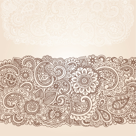 Henna Flowers and Paisley Mehndi Tattoo Edge Design Doodle Vector