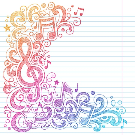 notepaper: Music Notes G Clef