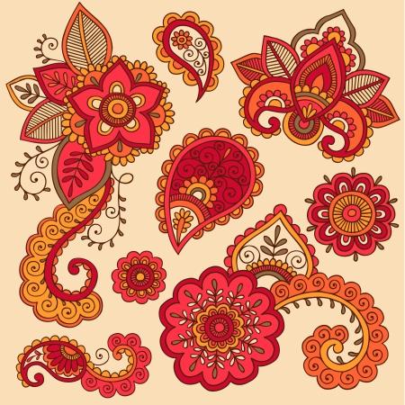 Henna Flowers and Paisley Mehndi Tattoo Doodle Set