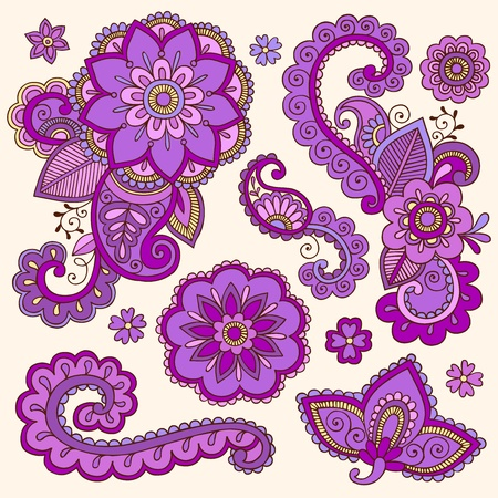 Henna Flowers and Paisley Mehndi Tattoo Doodle Set Vector