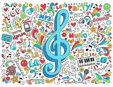 音楽音部記号グルーヴィーなサイケデリックな落書き手描きノートブック落書きデザイン