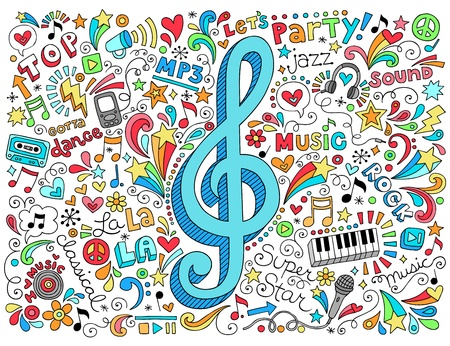 Music Clef Groovy Psychedelic Doodles Hand Drawn Notebook Doodle Design  Vettoriali