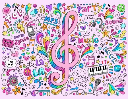 Music Clef Groovy Psychedelic Doodles Hand Drawn Notebook Doodle Design  Vector