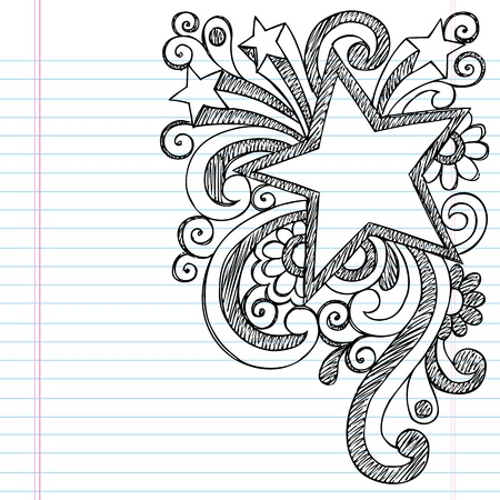 Star Frame Border Back to School Sketchy Notebook Doodles- Vector Illustration Design on Lined Sketchbook Paper Background Vector