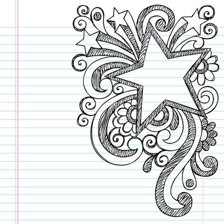 shooting star flower: Star Frame Border Back to School Sketchy Notebook Doodles- Vector Illustration Design on Lined Sketchbook Paper Background